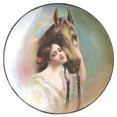 1905 Tin Lithographed Charger, Meek Company, Girl Embraces Horse