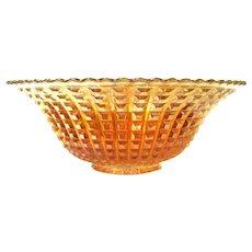 Large Iridescent Marigold Glass Fruit Bowl, Waffle Block Pattern