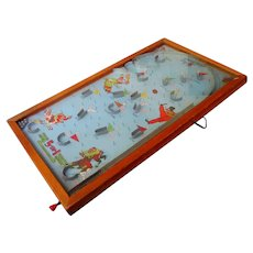 "Vintage 1940's POOSH-M-UP  ""Big 5"" Glass Topped Pinball Marble Game"