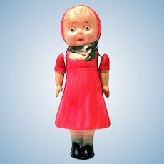 Darling Vintage Five Inch Tall Celluloid Doll in Red Dress