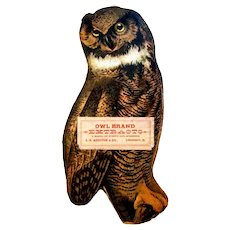 """1906 Die-cut Figural Pasteboard Piece Advertises """"Owl Brand Extracts"""""""