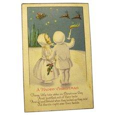 Snow Children Watch Santa and Reindeer in the Sky on Vintage Postcard