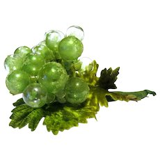 Ornament Cluster of Vintage Frosted Glass Grapes, Flocked Green Leaves