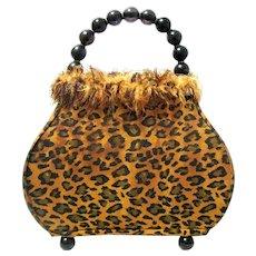 Vintage Handbag or Purse Shaped Vanity Lamp, Animal Print Shade
