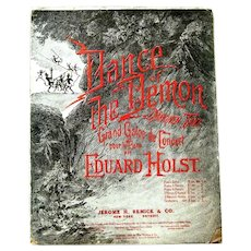 "Original Halloween Sheet Music, ""Dance of the Demon"", 1906, Eduard Holst"