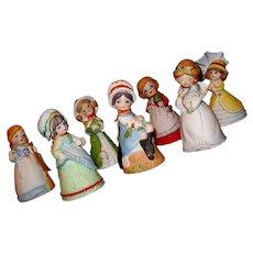 Seven Vintage Bisque Porcelain Bells, Merri-Bells/Adorabelles by Jasco