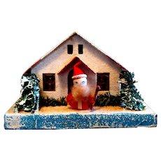 Vintage Putz Village Building with Tiny Santa in Front, Japan