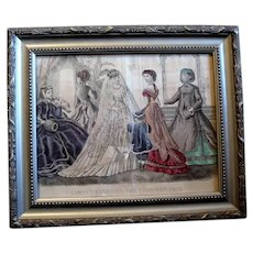 Hand Colored Godey's Fashion Print of Bride and Family, ca. 1868, Framed