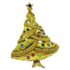 Gold Tone christmas Tree Pin, Multicolored Rhinestones, Safety Catch