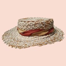 Young Lady's Shabby Chic Edwardian Straw Boater with Neck Ribbon