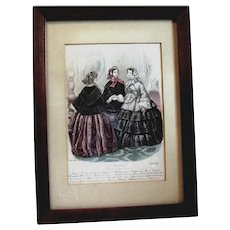 Framed La Mode French Fashion Print, 1857