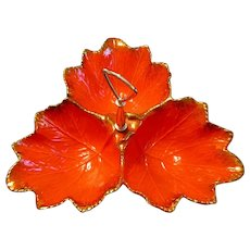 1950's California Originals Pottery Orange Leaves Handled Relish Dish