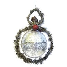 1910 Foil and Tinsel Trimmed Hanging Candy Container/ Christmas Ornament