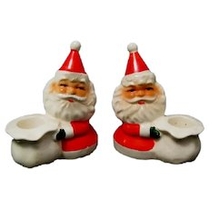 "Pair of 4"" tall Santa Claus Candlesticks, Stamped ""Japan"""