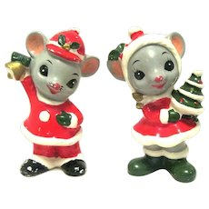 1950's Hand Painted Pair of NAPCOWARE Christmas Mice