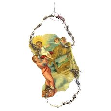 Authentic Victorian Embossed Chromolithographed Nativity Scene Scrap and Tinsel Ornament