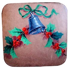 Square Vintage Huyler's Christmas Chocolate Box, Hand Painted Bell and Holly
