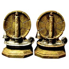 Pair of Mid-Century Syroco Bookends, Candles Shine in Holders
