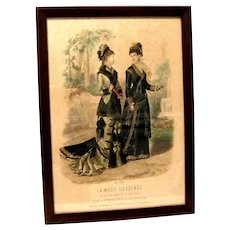"Framed 1878 Hand Colored French Fashion Print, ""La Mode Ilustree"""