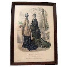 "Companion to Framed 1878 Hand Colored French Fashion Print ""La Mode Illustree"""