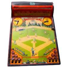 "Working 1920's Hustler-Frantz Tin Lithograph ""Great American Game"" Mechanical Baseball Toy"