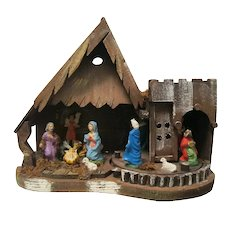 Unique Vintage Italian Nativity Set, Revolving Platform with Wise Men, Shepherd