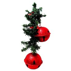 """19"""" Wall or Door Christmas Decoration with Large Red Glittered Jingle Bells"""