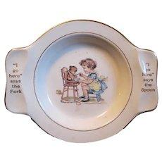 1940's Ceramic Baby's Feeding Bowl, Little Girl Feeds Teddy in High Chair