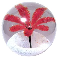 Very Old Bohemian Paperweight, Petaled Flower in White Speckled Saucer