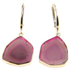 Natural Genuine Watermelon Tourmaline Slice 14K Yellow Gold Earrings - Watermelon Tourmaline Yellow Gold Earrings