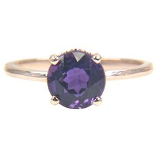 RESERVED Round Genuine Purple Amethyst 14K Yellow Gold Solitaire Ring - Gemstone Ring - Gold Gemstone Ring