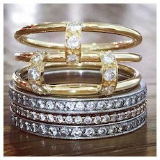 Diamond Ring - Yellow Gold Ring - Fine Jewelry - Stack Ring - Multi Band Ring
