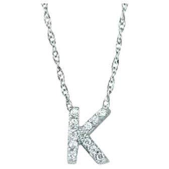 Diamond Letter Pendant - White Gold Diamond Letter Necklace