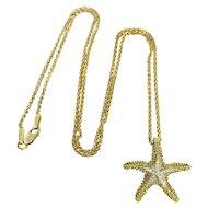 Yellow Gold and Diamond Starfish Pendant - Starfish Necklace