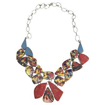 Sterling Silver Gemstone Bib Necklace - Bib Statement Necklace
