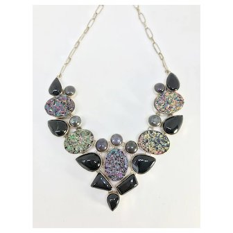 Black Onyx Bib Necklace Vintage Silver Necklace Gemstones Raw Stones