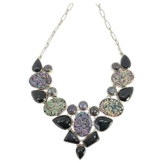 Sterling Silver Black Onyx Bib Necklace - Vintage Bib Necklace - Sterling Silver Bib Necklace