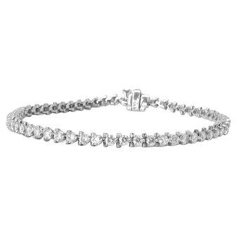 14k White Gold Diamond Tennis Bracelet - 3 carats total