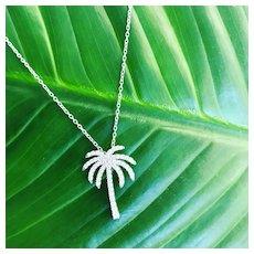 Diamond Palm Tree - Beach Jewelry - Diamond Palm Necklace