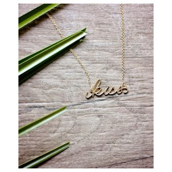Gold kiss Necklace  - Word Pendant