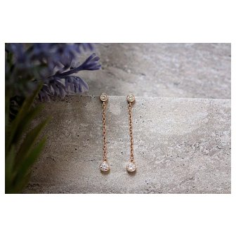 Rose Gold Diamond Dangle Earrings - Diamond Drop Earrings
