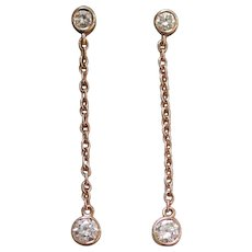 Rose Gold Diamond Dangle Earrings - Diamond Drop Earrings