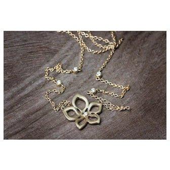 Gold Lotus Pendant -Diamond Flower Necklace- Flower Jewelry - Gold Flower