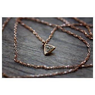 Rose Gold Diamond Pendant - Diamond Pendant - Triangle Diamond - Diamond Necklace - Solitaire Diamond Necklace - Trillion Diamond