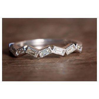 Diamond Band Baguette White Gold Stackable Bands