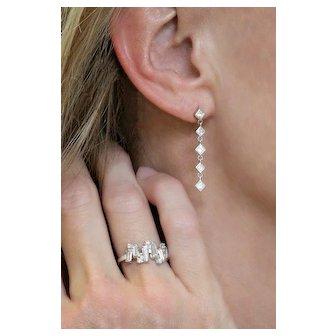 Princess Cut Diamond Drop Earring White Gold Square Diamond