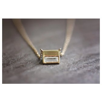 Diamond Baguette Necklace 14k Yellow Gold Small Necklace
