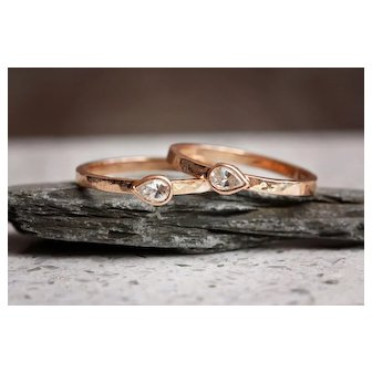 Pear Diamond Rose Gold Stack Rings Hammered Gold