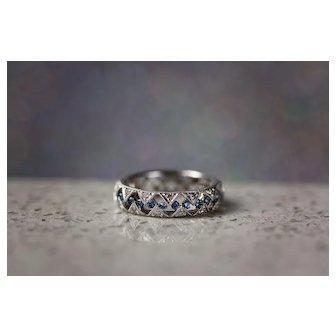 Diamond and Sapphire 18k White Gold Band Anniversary Wedding Band