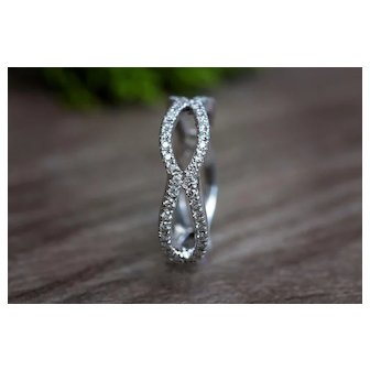 Diamond Infinity Band White Gold Diamond Band Stackable Ring Anniversary Ring